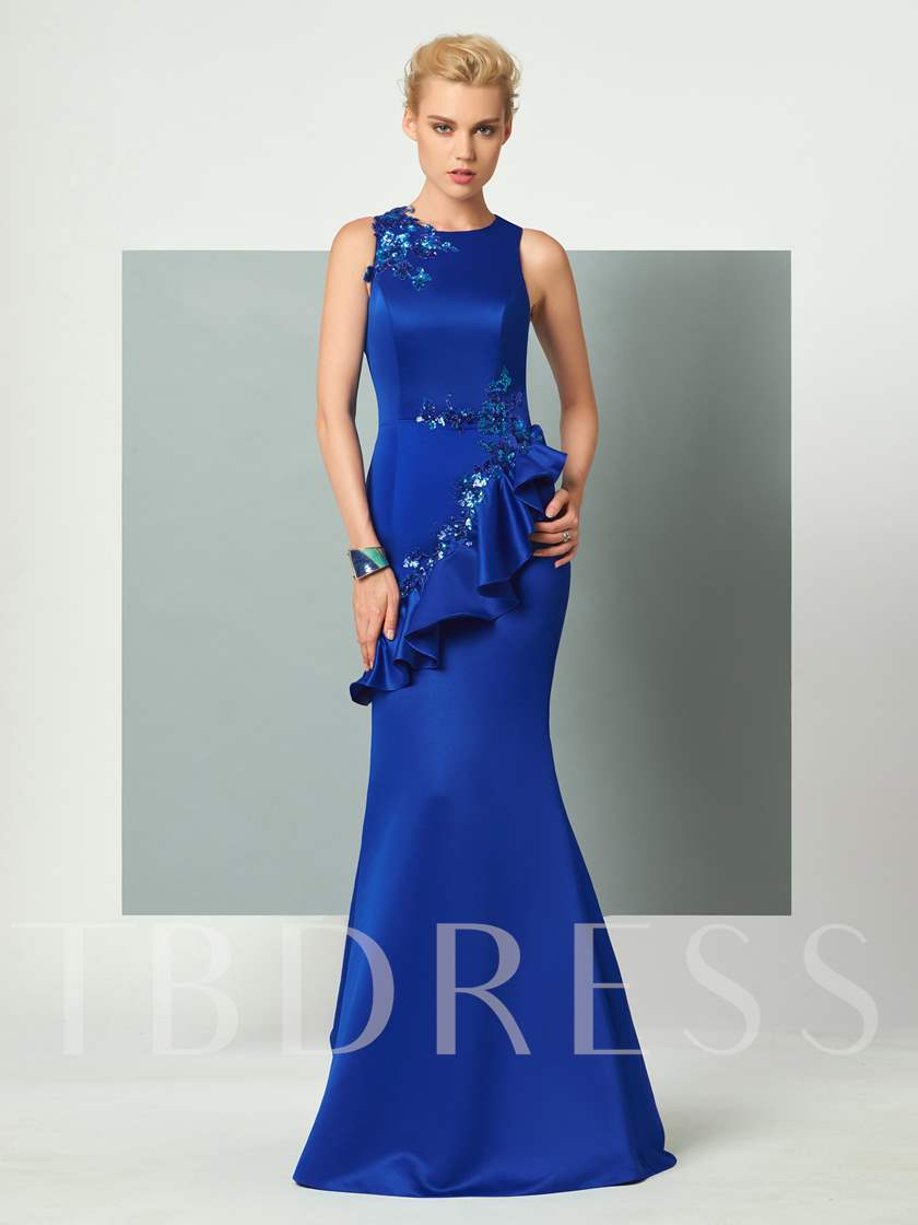 Scoop Trumpet Appliques Ruffles Sequins Floor-Length Evening Dress