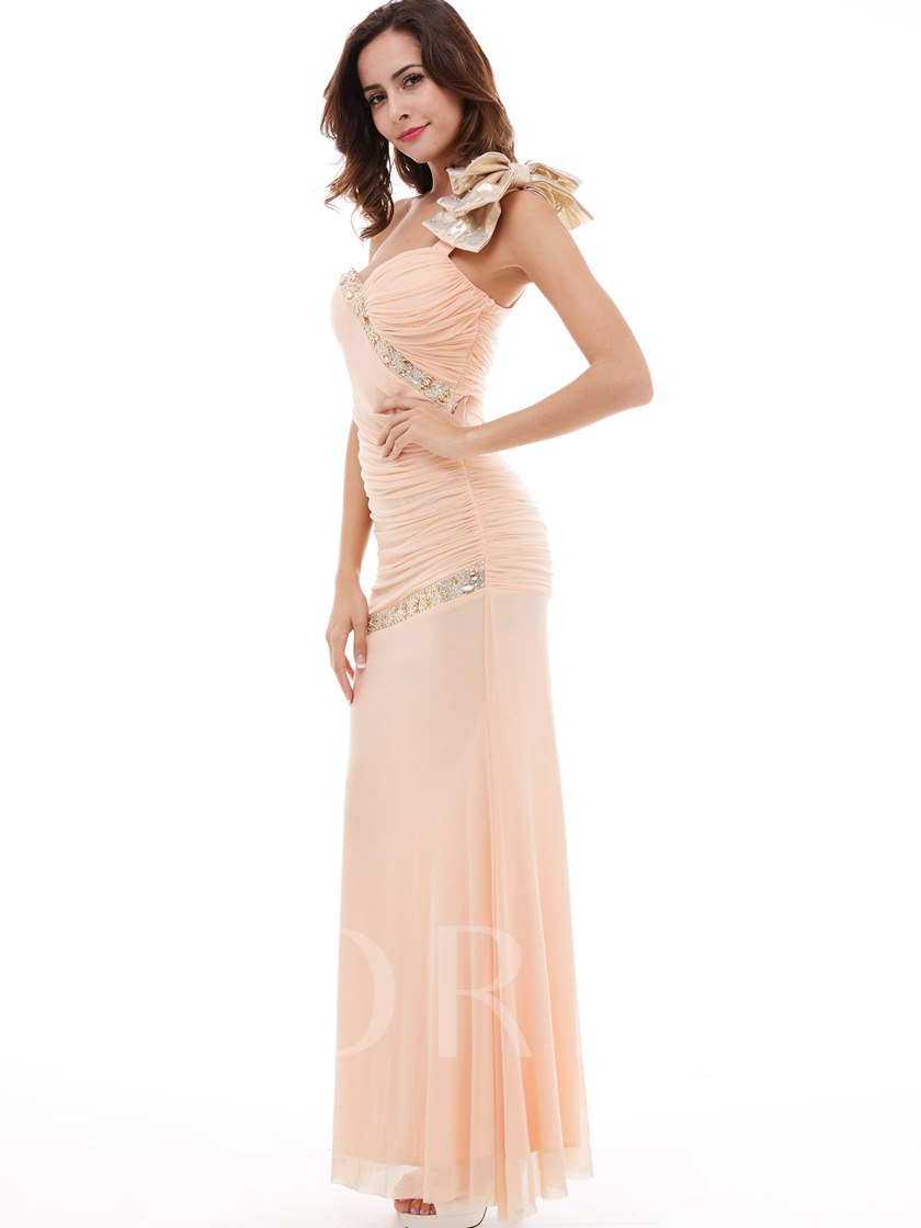 Beading Pleated Chiffon Column Evening Dress