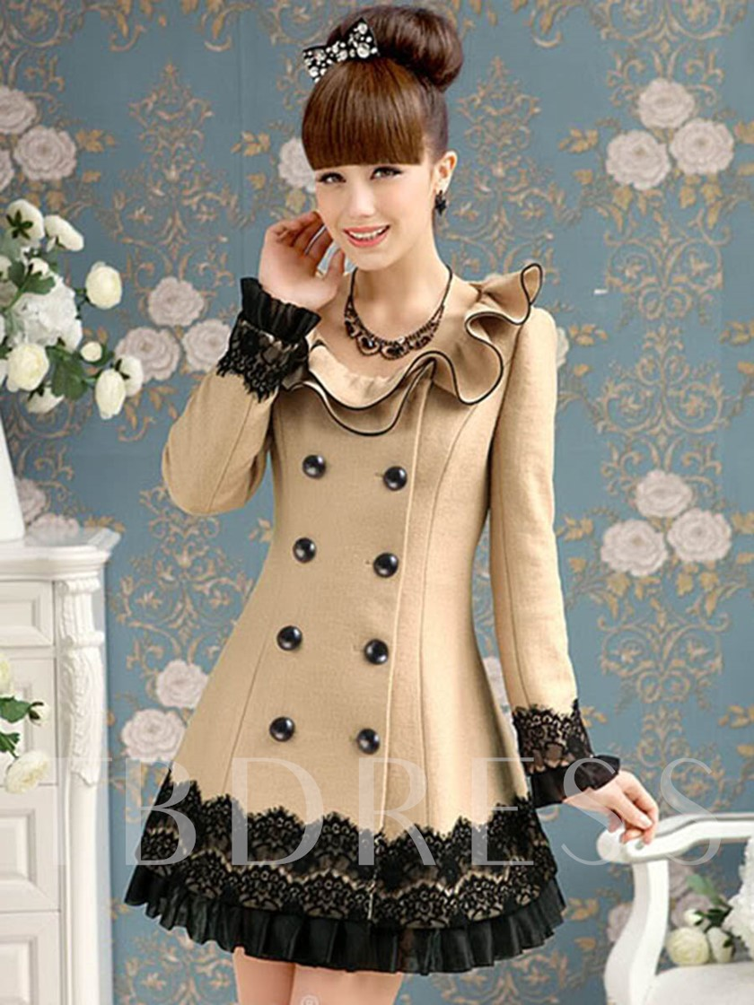 Double-Breasted Ruched Lace Ruffled Collar Women's Trench Coat