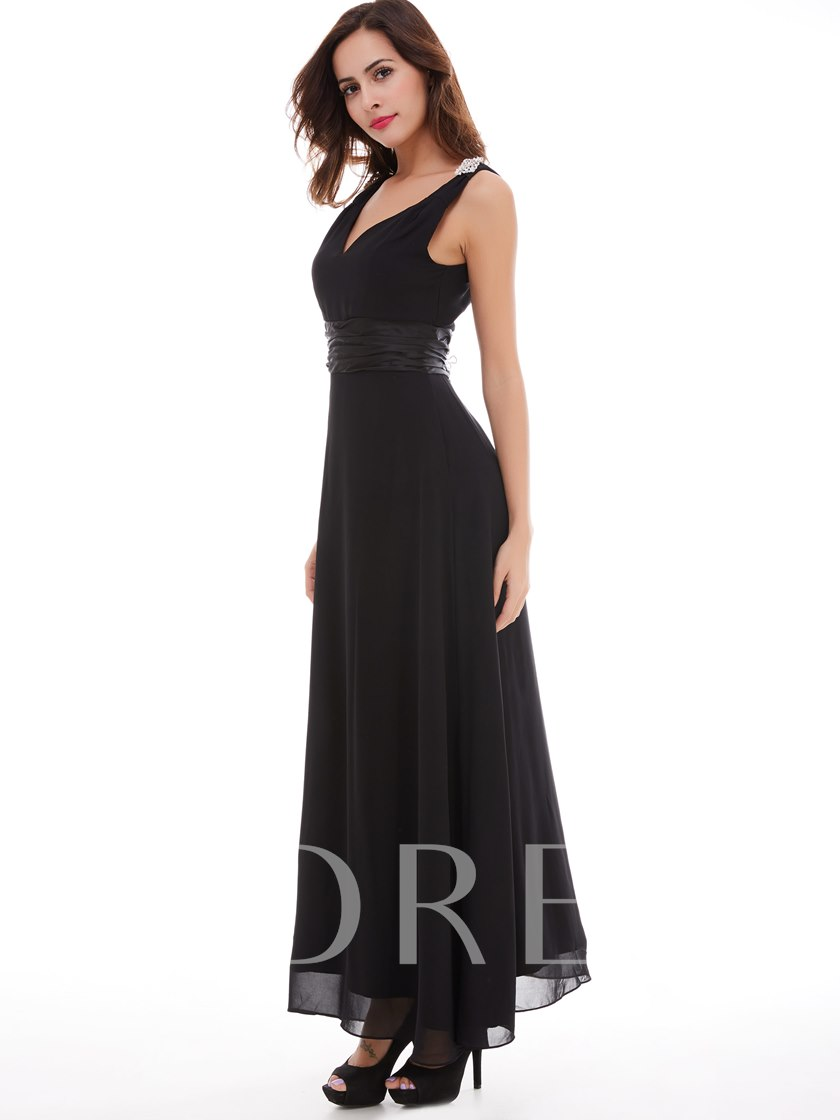 A-Line Straps Beading Draped Sashes Long Evening Dress