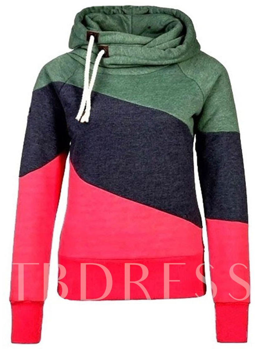 Color Block Heap Collar Drwasting Hood Women's Hoodie
