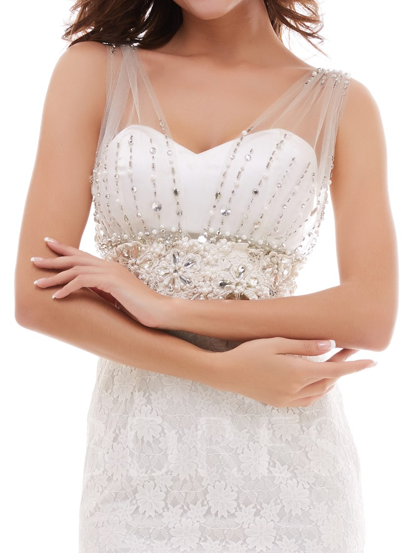 Pearls Rhinestones Beading Sleeveless Sheath Wedding Dress