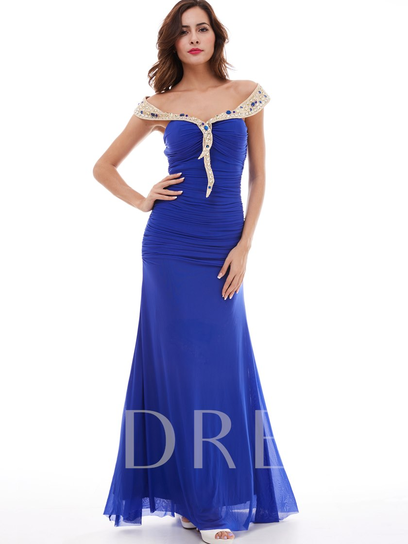 Chiffon One-Shoulder Beaded Sheath Evening Dress