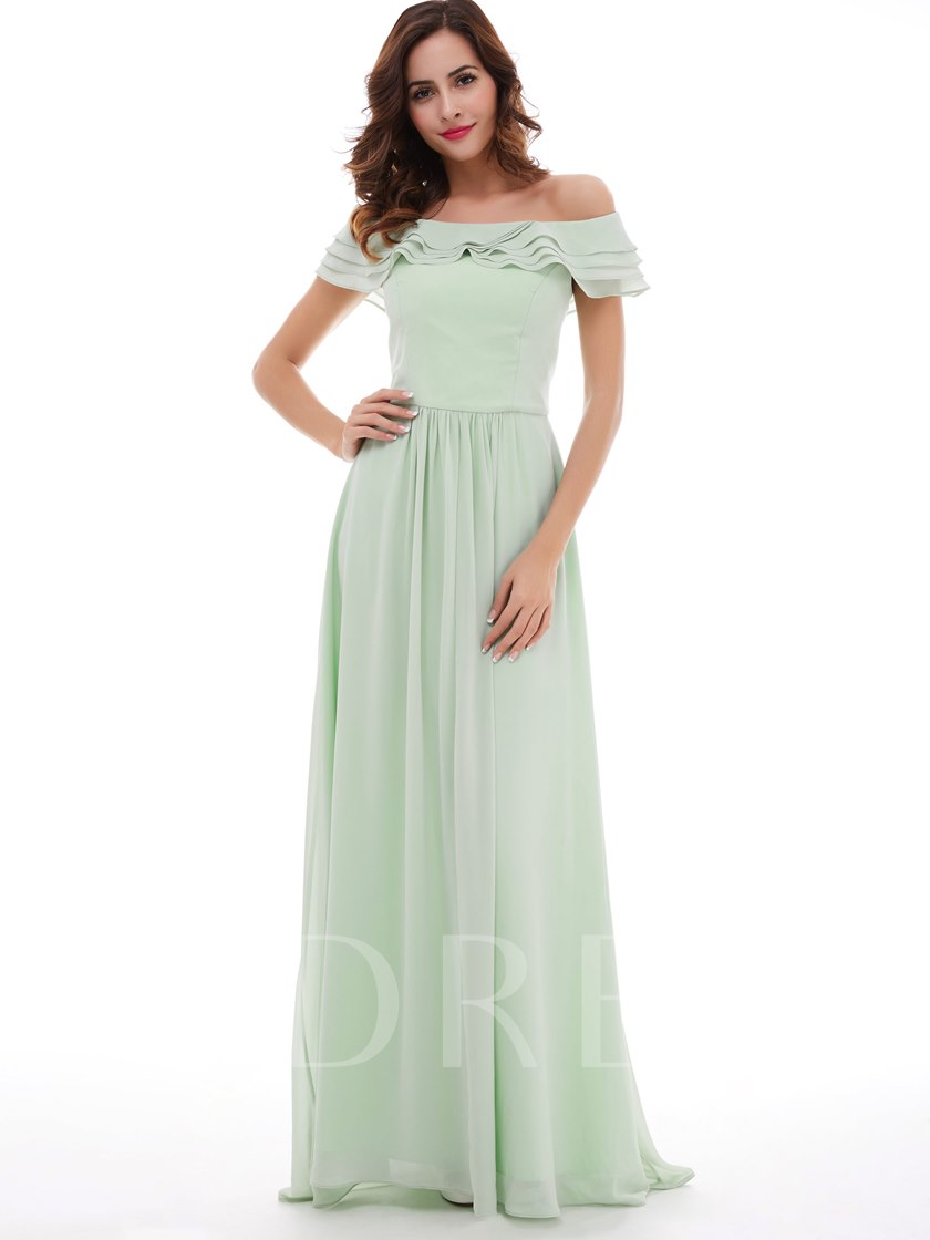 Off-The-Shoulder Chiffon 30% Off A-Line Long Prom Dress