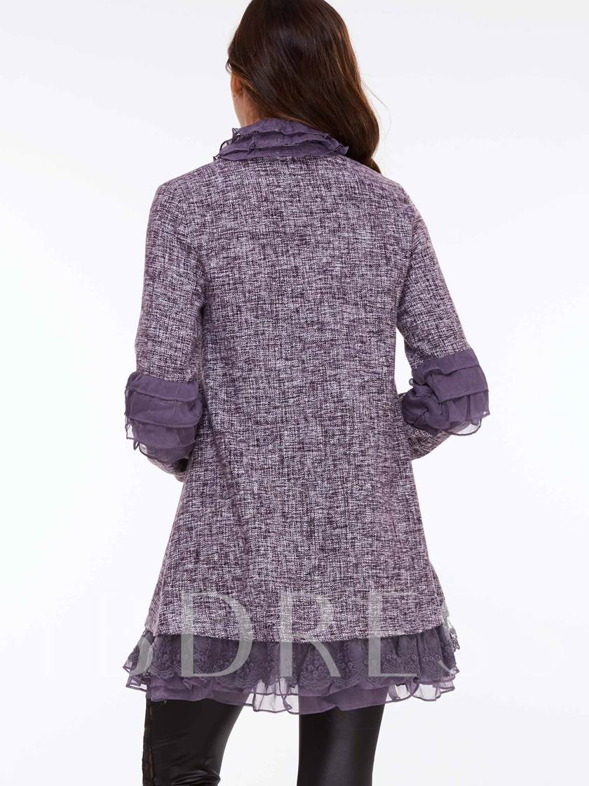 Purple Patchwork Lace Women's Overcoat