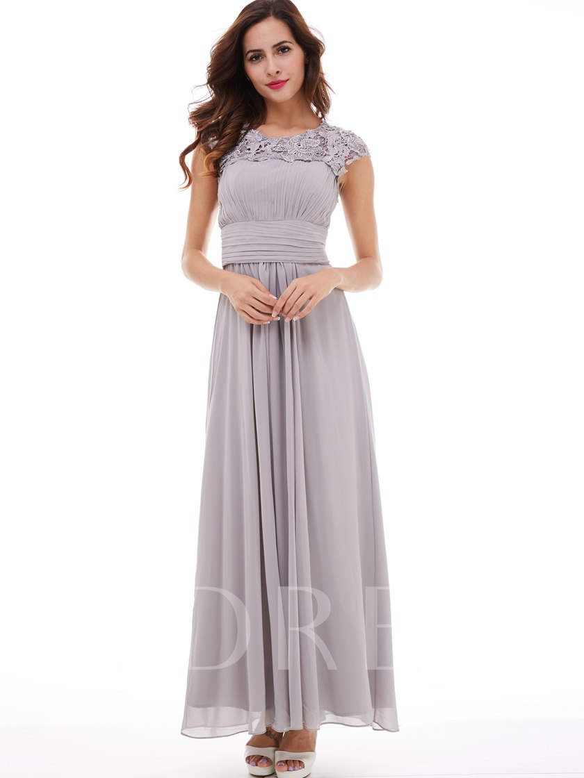A-Line Scoop Cap Sleeves Pleats Appliques Long Evening Dress