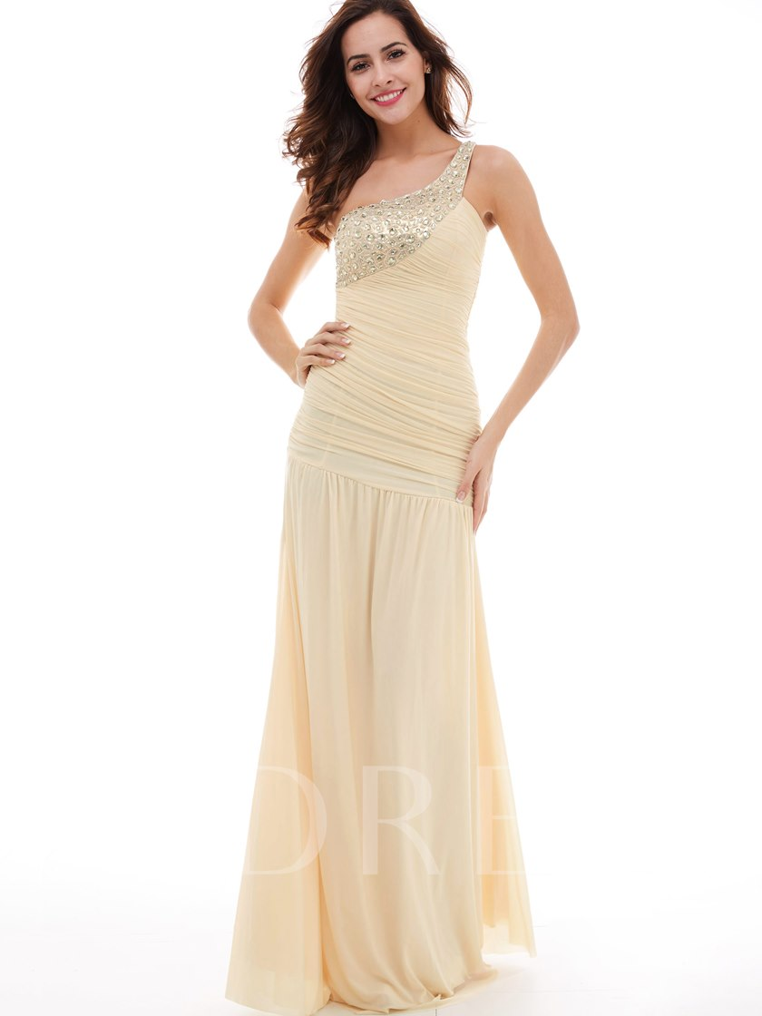 Pleats Ruched Beading Chiffon One-Shoulder Floor-Length Evening Dress