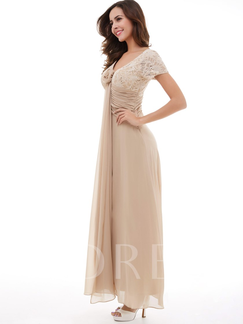 A-Line V-Neck Short Sleeves Sequins Lace Chiffon Evening Dress