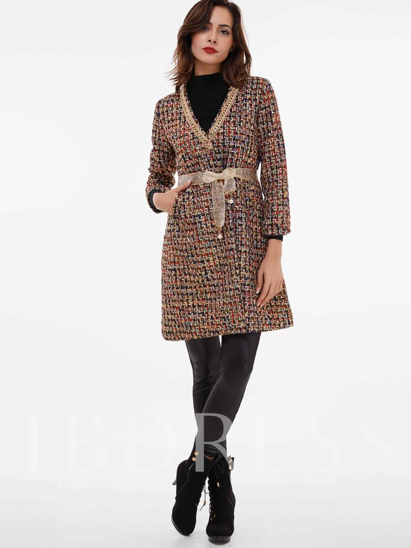 Chain Lace-Up Pocket Nine Points Sleeve Women's Overcoat
