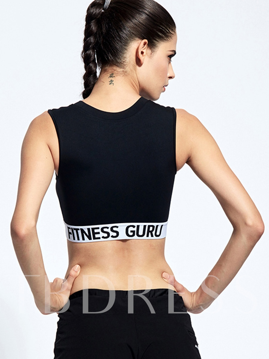 Words Printed 2 In 1 Push Up Women Sports Bra