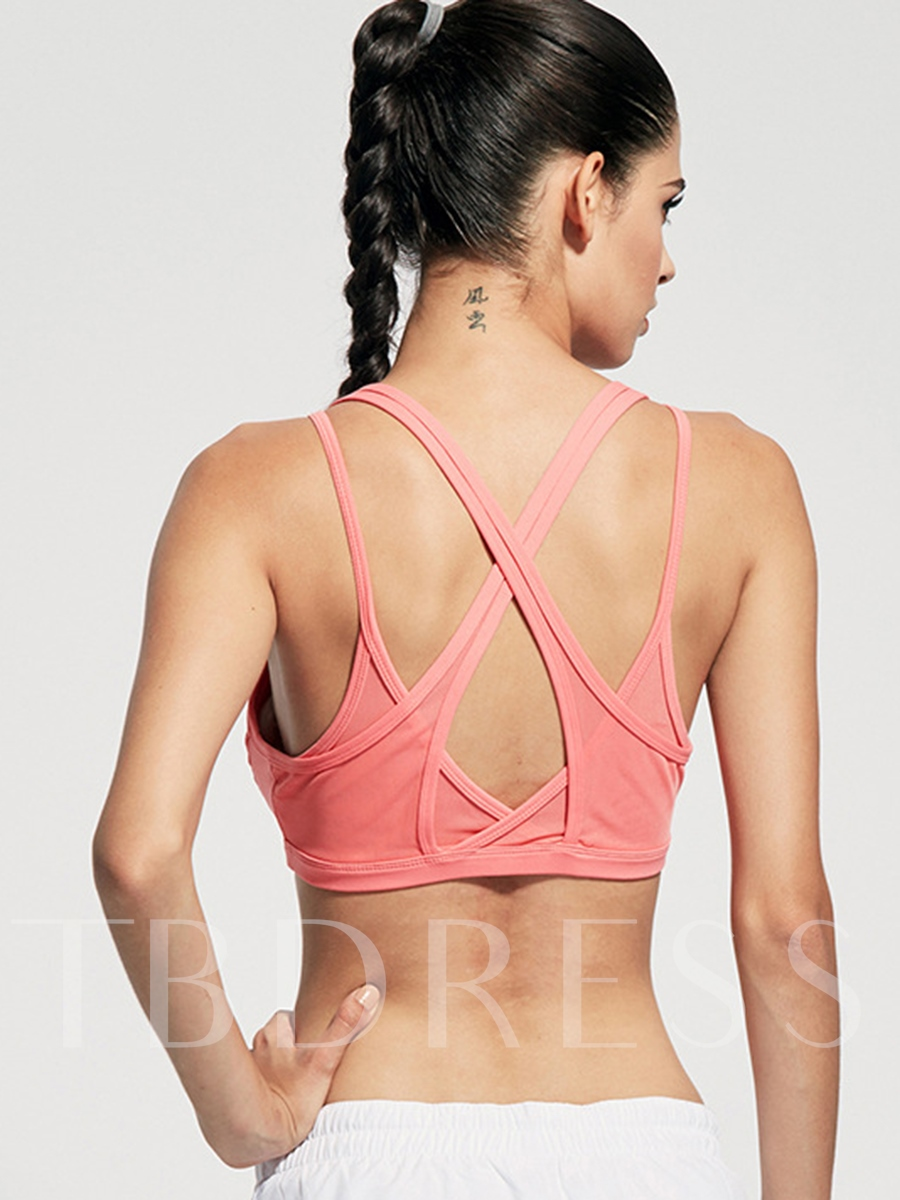 Solid Color Polyester Strappy-Back Women Sports Bra