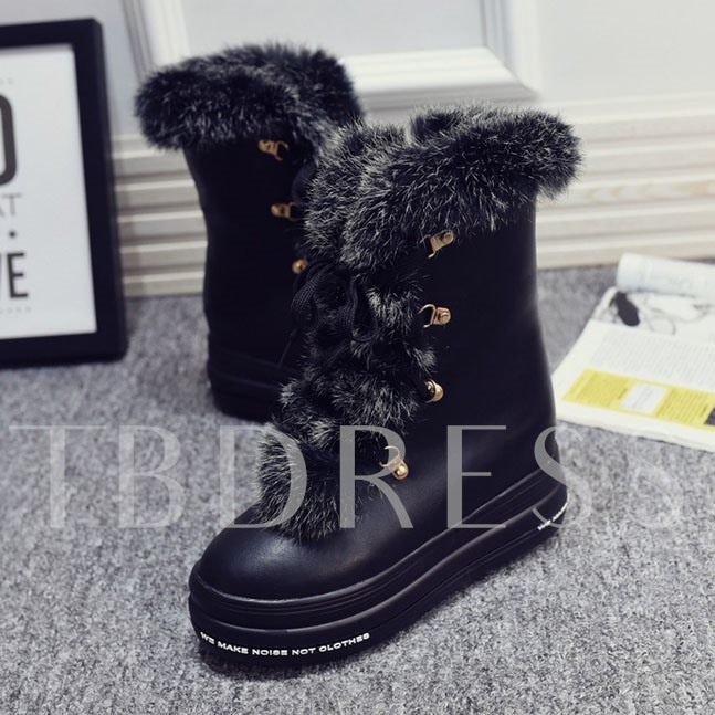 Solid Color Round Toe Women's Snow Boots