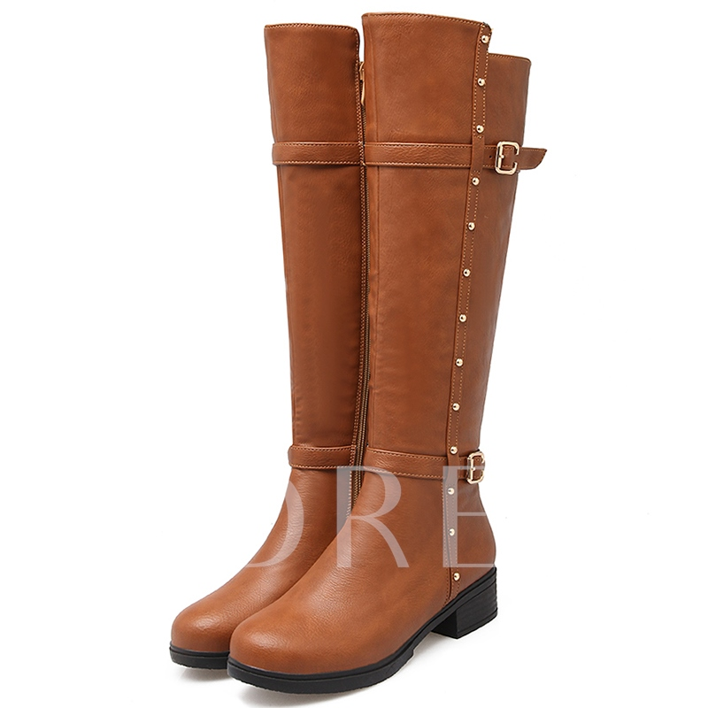 Round Toe Square Low Heel Knee-High Side Zipper Women's Boots