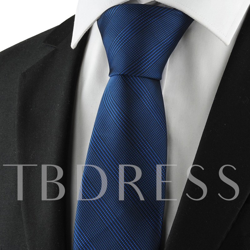 Pure Color Dark Blue Plaid Men's Tie