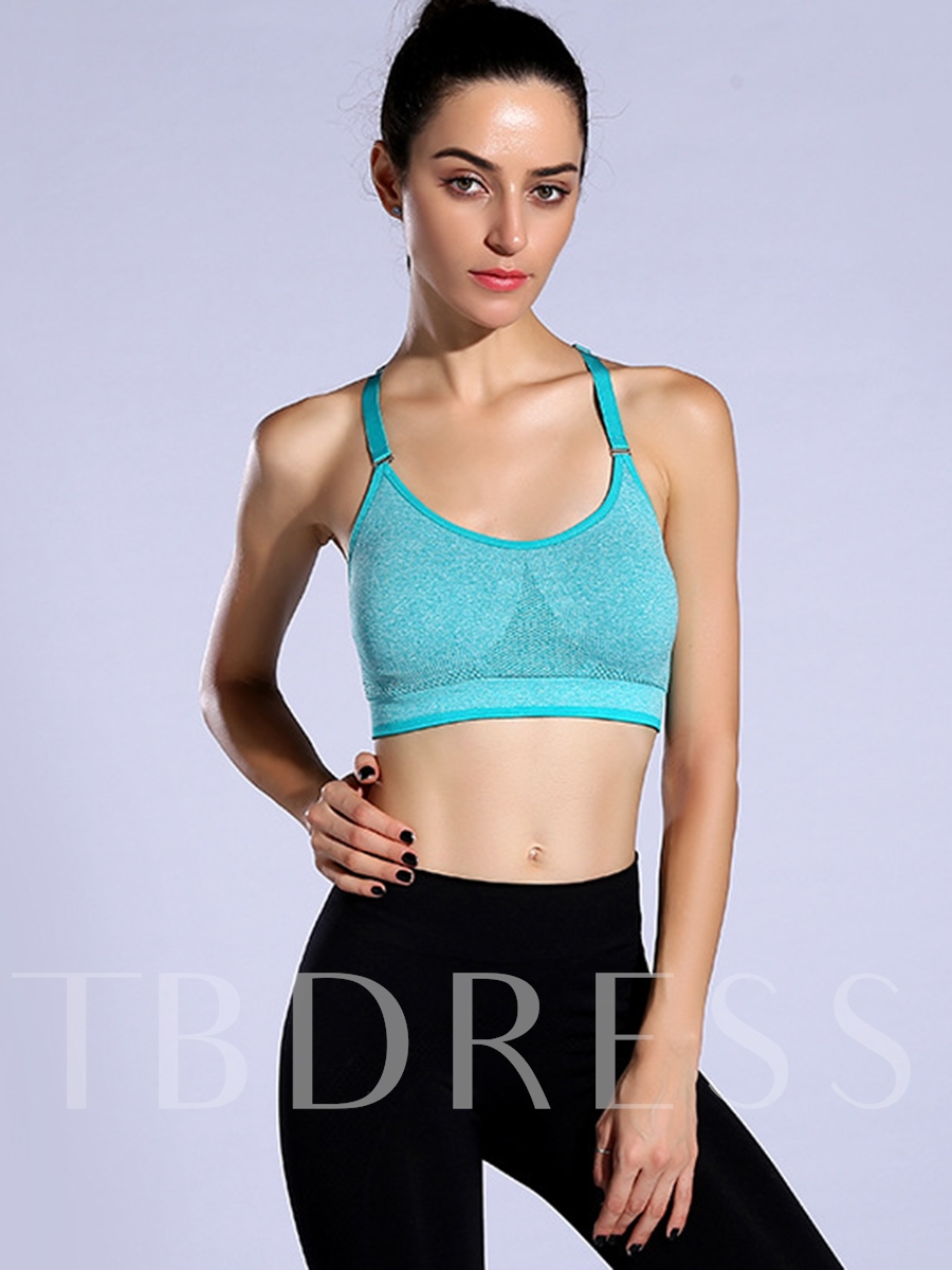 Solid Color Key Hole Back Women Sports Bra