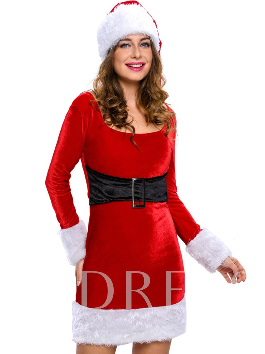 Long Sleeve Belt-Decorated Santa Cosplay Christmas Costume