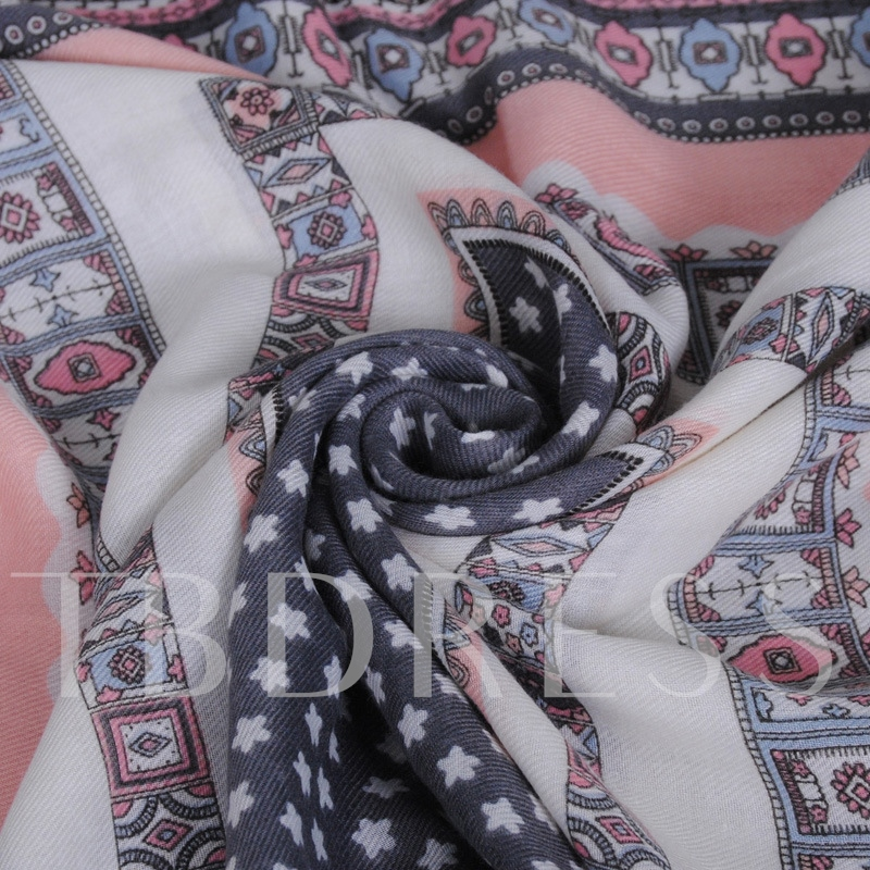 High Quality Voile Printed Tassels Scarf