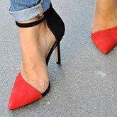 Contrast Color Pointed Toe Sandals