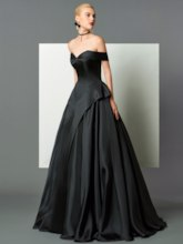 A-Line Off-the-Shoulder Cap Sleeves Ruffles Sweep Train Evening Dress