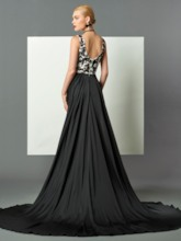 Straps Appliques Watteau Train Evening Dress