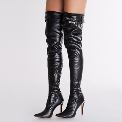 Side Zipper Stiletto Heel Pointed Toe Over-the-Knee Women's Boots