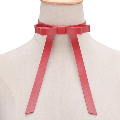 Artificial Leather Rope Bow Decorated Choker Necklace