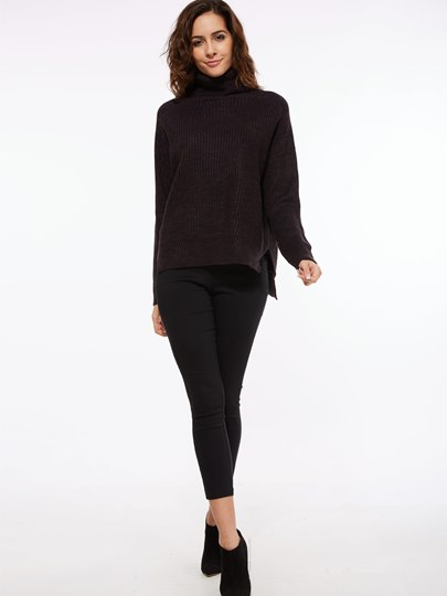 Plain Loose Turtleneck Trim Women's Sweater