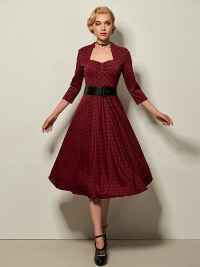 Polka Dots Vintage Women's Swing Dress