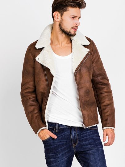 Lapel Faux Shearling Zipper Slim Men's Biker Jacket with Side Pockets