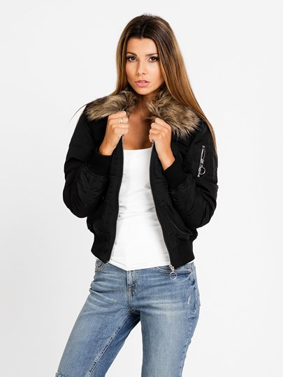 Solid Color Zipper Wool Collar Women's Jacket