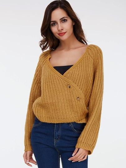 Double Layer Loose Buckle Women's Sweater