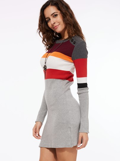 Color Block Bodycon Women's Sweater Dress