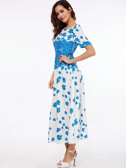 Floral Print Square Neck Women's Maxi Dress