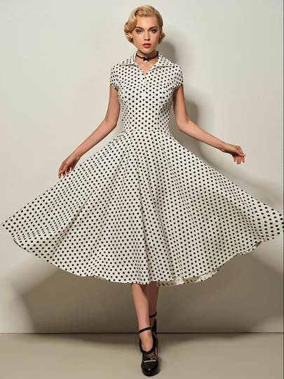Lapel Bowknot Polka Dots Women's Day Dress