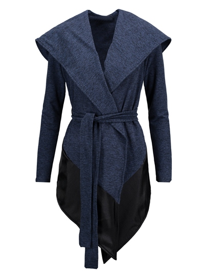 Hooded Color Block Patchwork with Belt Women's Overcoat