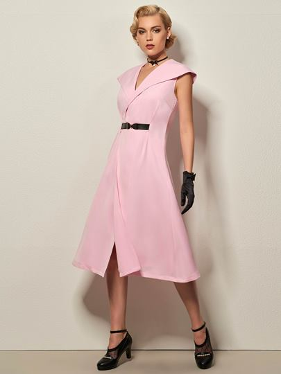 Plain Lapel with Belt Women's Day Dress
