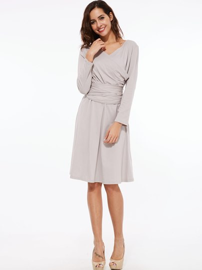 Plain Pleated Lace-Up Women's Long Sleeve Dress