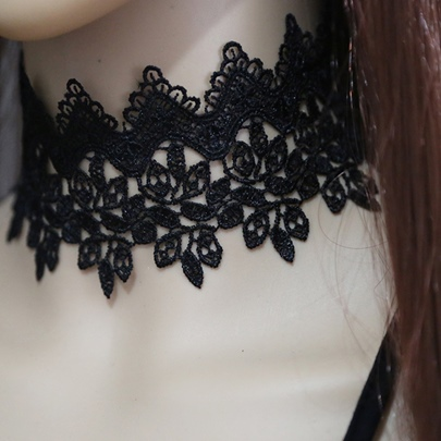 Wide Black Lace Leaves Choker Necklace