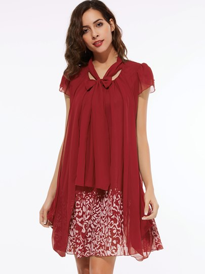 Chiffon V-Neck Above Knee Women's Day Dress