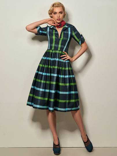 Plaid Lapel Women's Vintage Dress