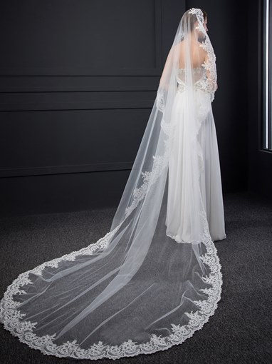 Appliques Long Wedding Veil