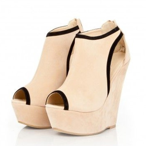 Beige Suede Wedge Sandals