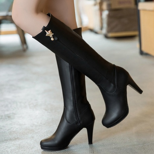Zipper Chunky Heel Plain Women's Knee High Boots
