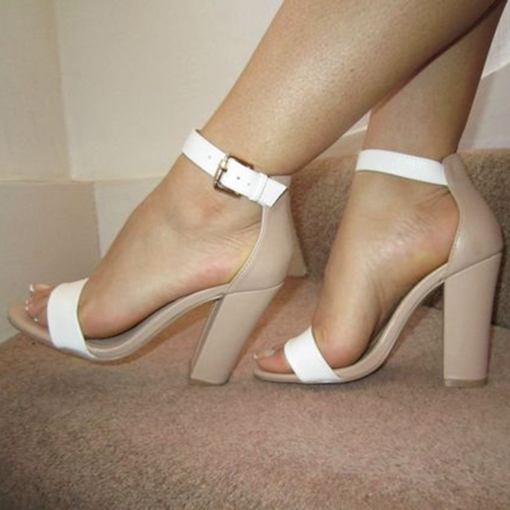 Nude and White Sandals