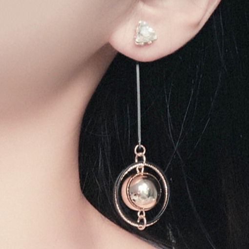 Metal Sphere Long Earrings
