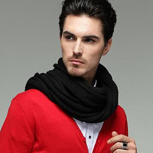 Simple Black Long Thicken Men's Scarf