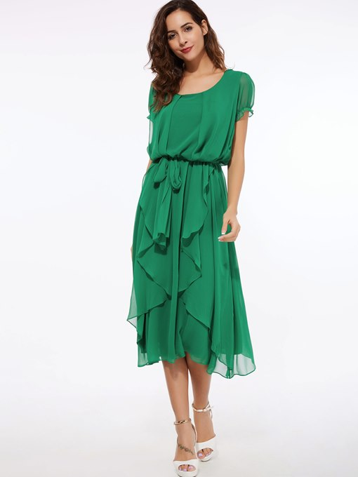 Short Sleeve Chiffon Slash Neck Belt Women's Maxi Dress