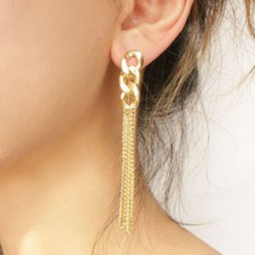 Vogue Golden Chain Pendant Earrings