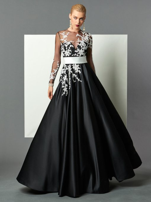 A-Line Appliques Jewel Neck Floor-Length Evening Dress