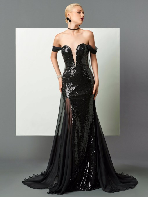 Off-the-Shoulder Sheath Sequins Watteau Train Evening Dress